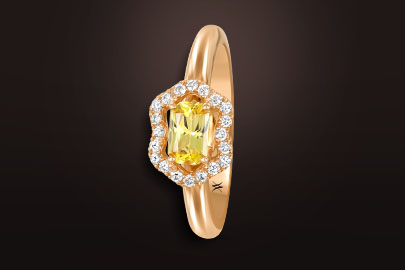 fleurettes bague or rose saphir jaune diamants