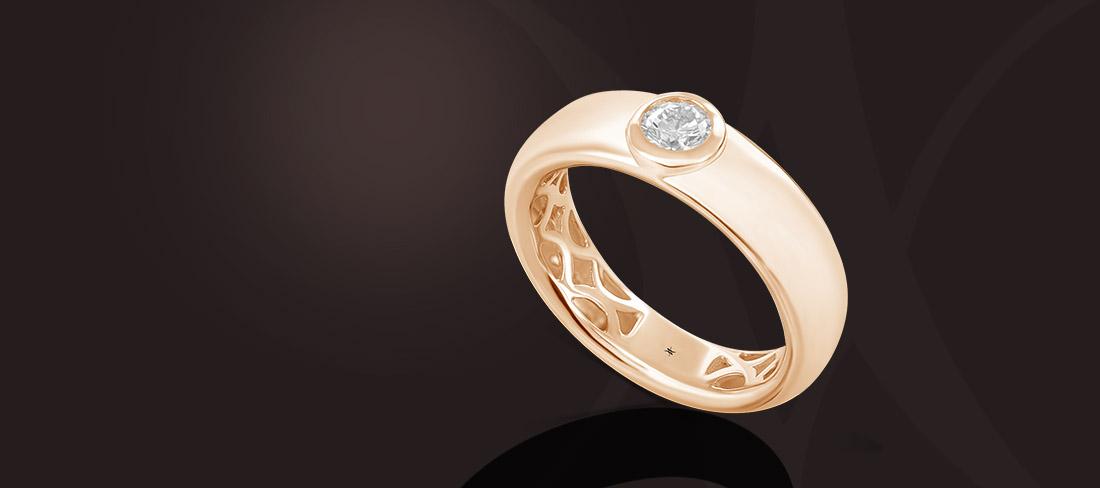 bague jonc or rose diamant