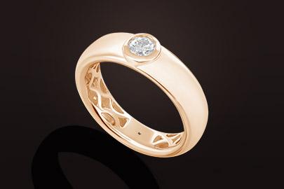Jonc bague or rose diamant